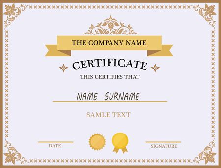 certifying: Certificate template with sample text