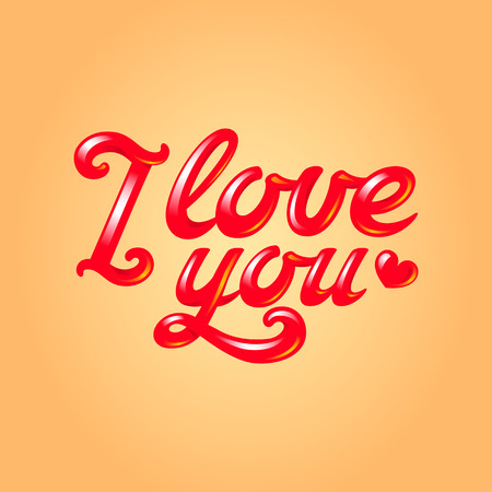 I love you inscription with red heart silhouette, 3d glossy hand lettering