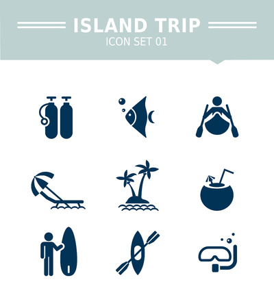 scuba diving: Set of vector icons with island trip, beach and scuba diving concepts, isolated on white