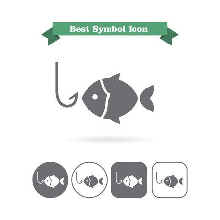 fish hook: Icon of fish silhouette and fish hook