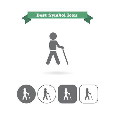 retirement home: Icon of man silhouette walking with stick