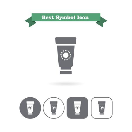 suntan cream: Icon of suntan cream tube with sun silhouette Stock Photo
