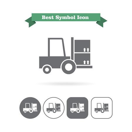 fork lift: Icon of loaded fork lift truck Illustration