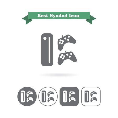 Icon of game console with two joysticks Vectores
