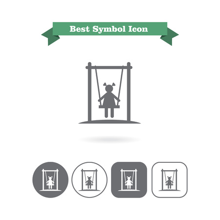 child girl: Icon of girl silhouette sitting on swing