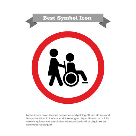 assisted: Icon of man silhouette in  wheelchair being assisted by nurse Illustration