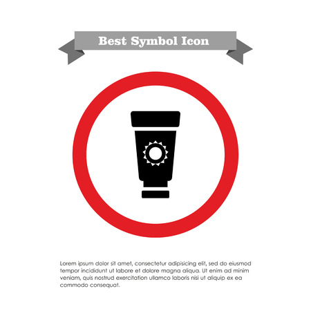 suntan: Icon of suntan cream tube with sun silhouette Illustration