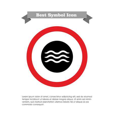 wave tourist: Icon of swimming pool sign in circle