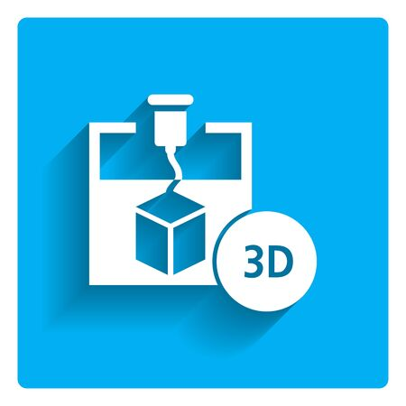 digital printing: Icon of 3d printer creating cube, 3D inscription in circle