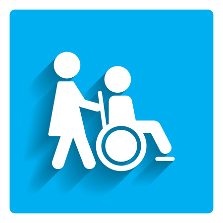 navigation aid: Icon of man silhouette in  wheelchair being assisted by nurse Illustration