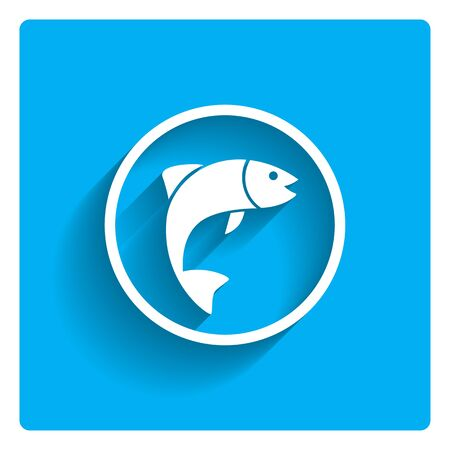 fish: Icon of fish silhouette in circle