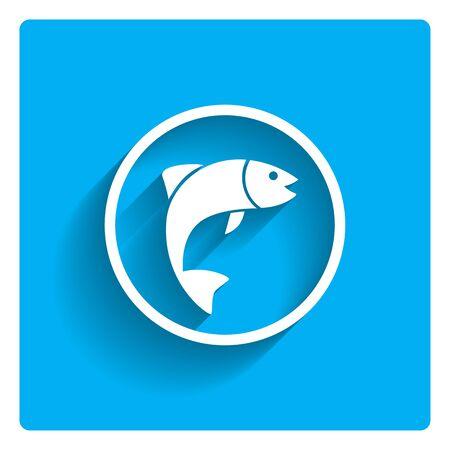 escamas de peces: Icono de la silueta de pescado en el c�rculo Vectores