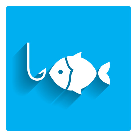 fishing catches: Icon of fish silhouette and fish hook