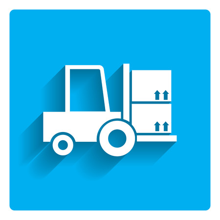 lift truck: Icon of loaded fork lift truck Illustration