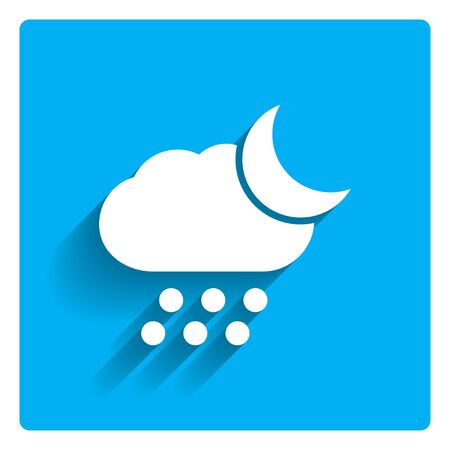croissant de lune: Icon of cloud with falling hailstones and crescent moon