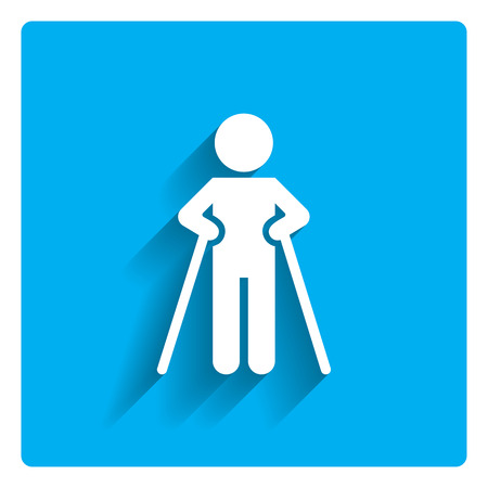 accident patient: Icon of man silhouette walking with crutches Illustration