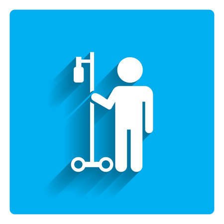 hospital patient: Icon of man silhouette with drip bulb on stand