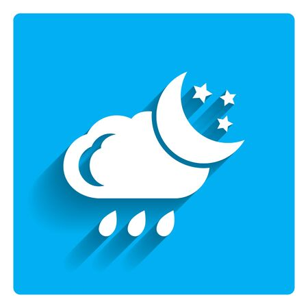 humidity: Icon of cloud with falling raindrops, crescent moon and stars Illustration