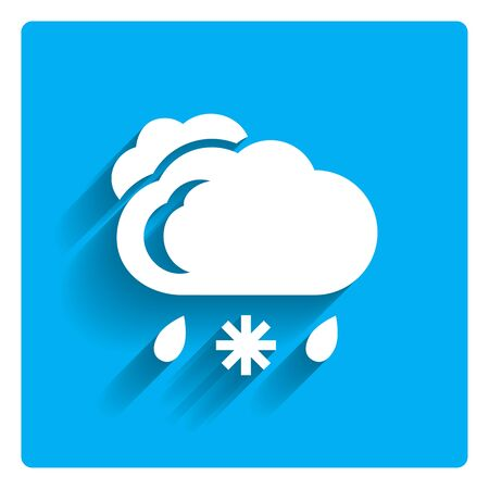 rain: Icon of clouds with falling snowflake and raindrops