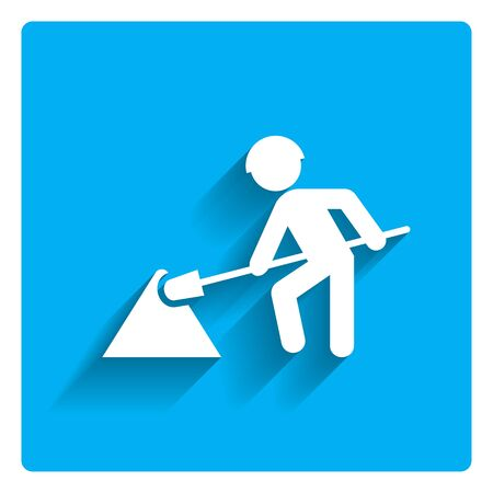 road works: Icon of digging man silhouette with spade Illustration