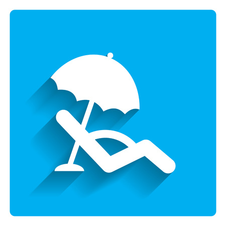 sun protection: Icon of sunbed with beach umbrella