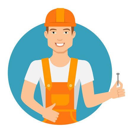 cartoon orange: Male character, portrait of young man in overall and hardhat, holding nail