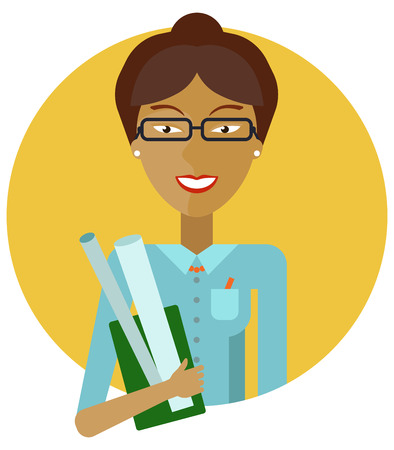 light brown hair: Female character, portrait of smiling young Asian female teacher holding drawing paper rolls Illustration