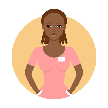 Female character, portrait of young African American nurse