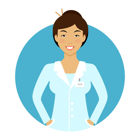 character cartoon: Female character, portrait of smiling young Asian nurse