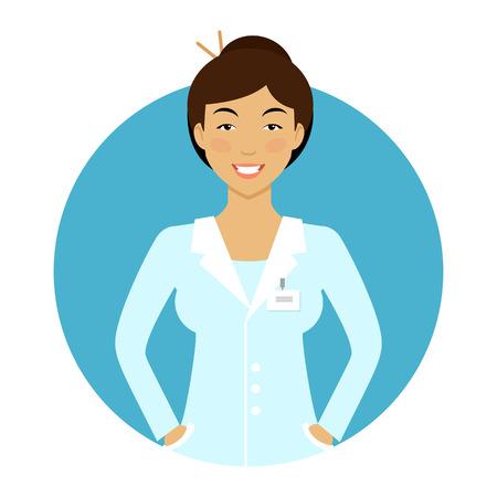 caricatura enfermera: Personaje femenino, retrato de Enfermera asiática joven sonriente Vectores