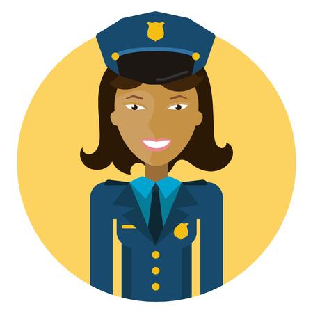 policewoman: Personaje femenino, retrato de mujer policía sonriente joven de Asia