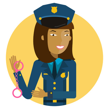 handcuffs woman: Female character, portrait of young Asian policewoman holding handcuffs Illustration