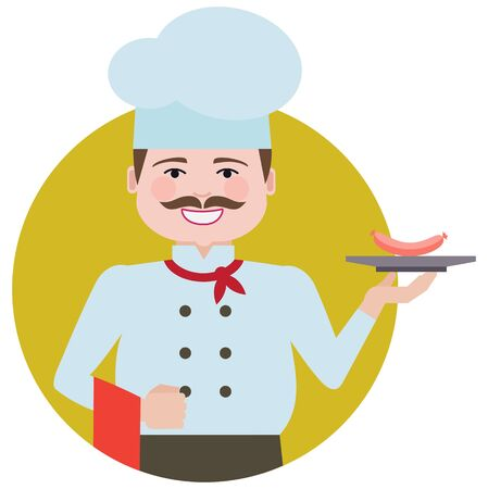 Male character, portrait of smiling male chef with moustache, holding plate with sausage