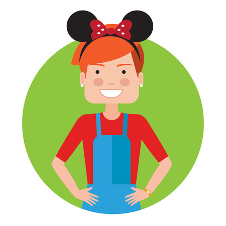 cute girl: Female character, portrait of teenage girl wearing headband with Mickey Mouse ears