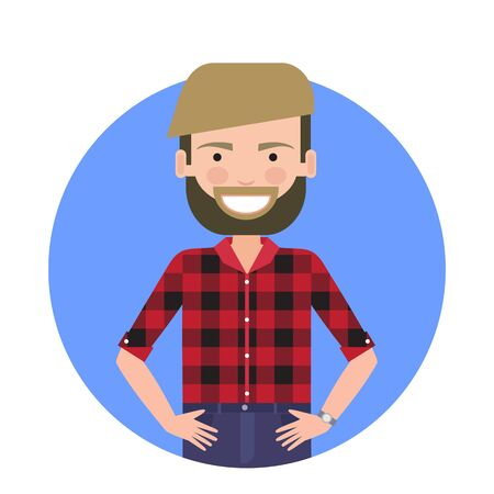 checked shirt: Male character, portrait of smiling young man with beard Illustration