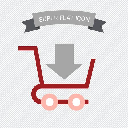 shopping cart icon: Icon of shopping cart with down-directed arrow