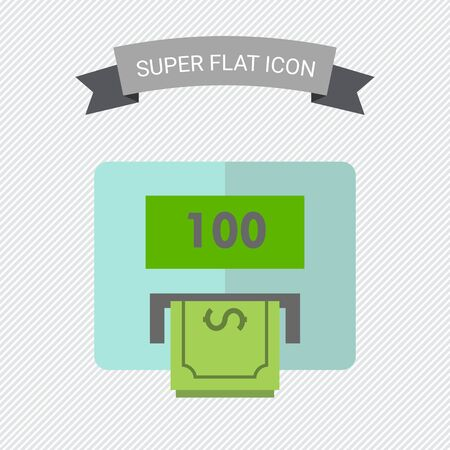 cash machine: Icon of cash machine with hundred dollar, banknote
