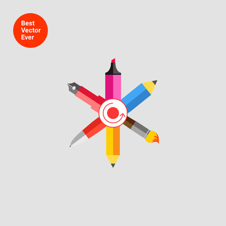 ball pen: Icon of crossed ink pen, ball pen, pencil, paint brush, highlighter with dot and arrow circle in center Illustration