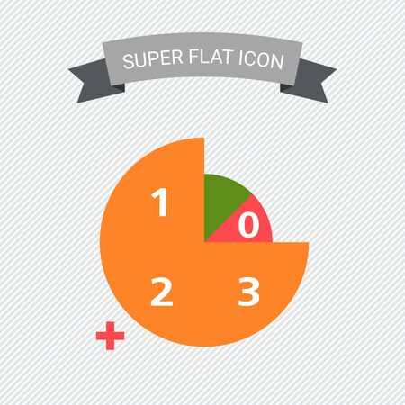 numbers icon: Icon of circular diagram with numbers, color segments and plus sign Illustration