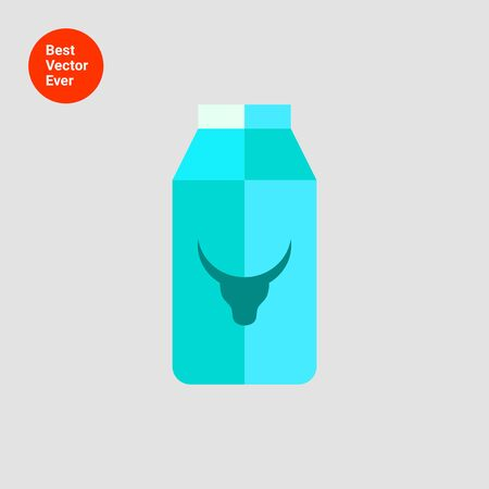 carton de leche: Icono de cartón de leche con la imagen de cabeza de vaca Vectores