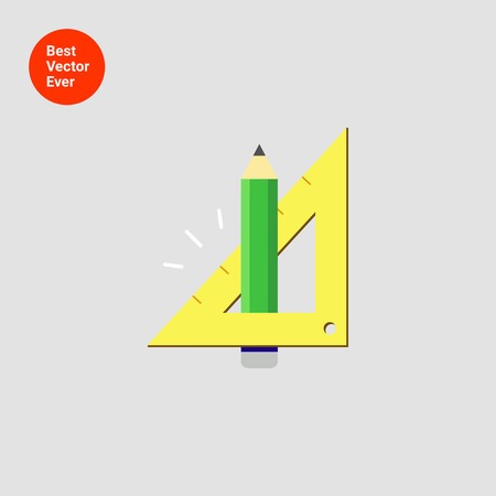 set square: Icon of pencil and set square