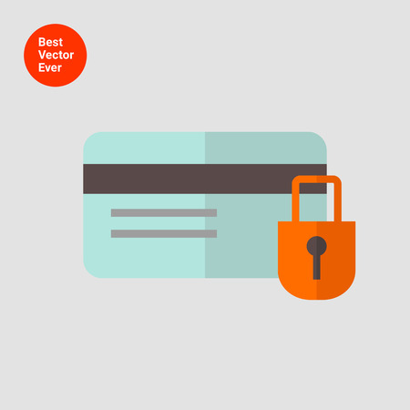 cashless: Icon of credit card and padlock Illustration