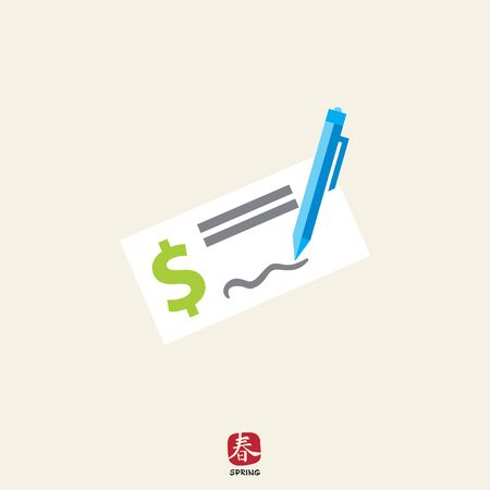 cheque: Icon of cheque book page with dollar sign and writing pen