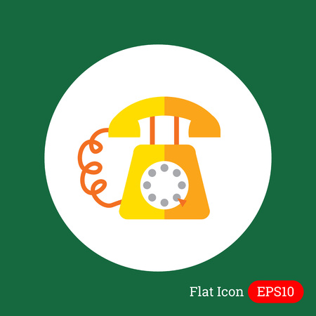 dialing: Icon of retro telephone with dialing disk