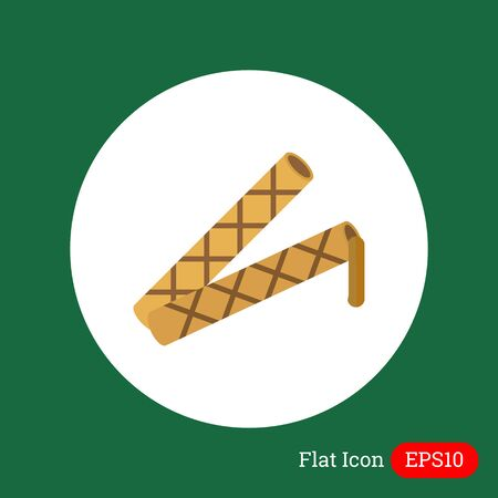 filling: Icon of waffle tubes with flowing out chocolate filling Illustration
