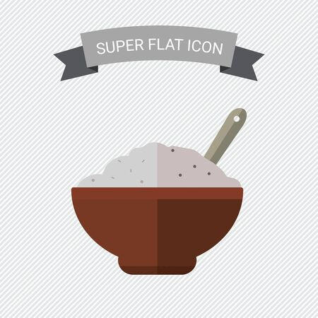 Icon of bowl with porridge and spoon