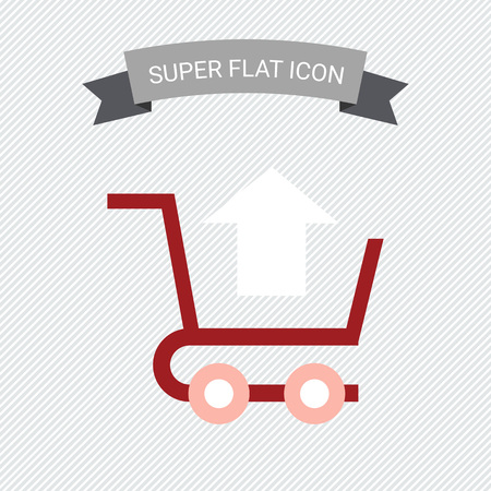 Icon of shopping cart with up-directed arrow Illustration
