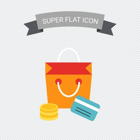 coin stack: Icon of shopping bag, coin stack and credit card