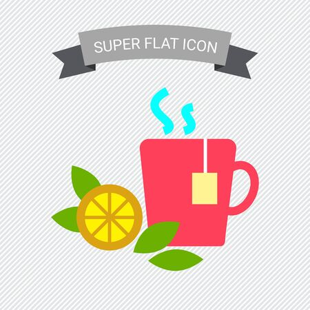 rational: Icon of hot tea cup with tea bag, lemon slice and mint leaves