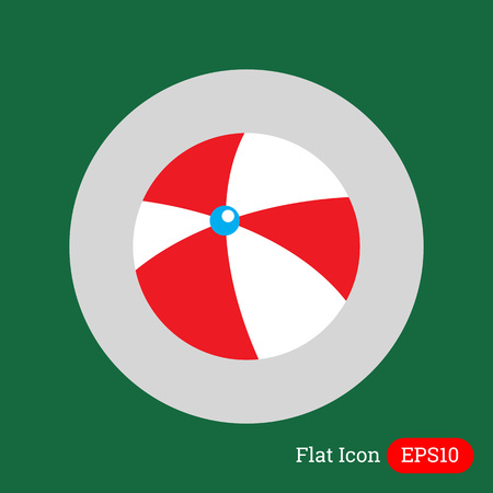 inflatable: Icon of white and red inflatable beach ball